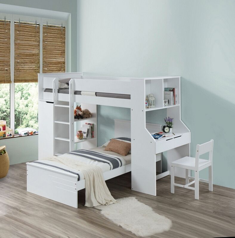 Acme 38060 Harriet Bee Fallinerlia Ragna White Finish Wood Twin Loft Bed With Desk And Drawers Twin Loft Bed Bunk Bed With Desk Loft Bed