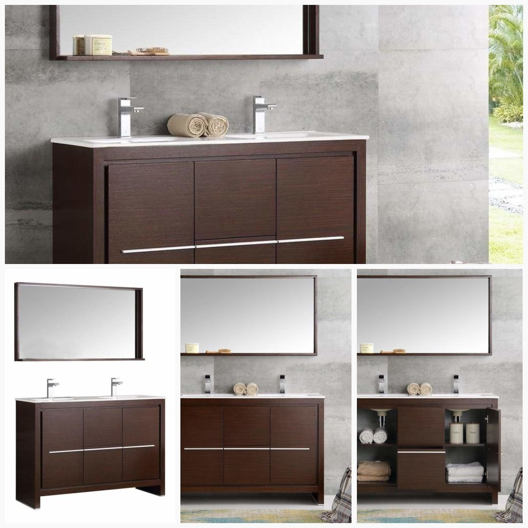 Fresca Allier 48 Wenge Brown Modern Double Sink Bathroom Vanity Set With Images Double Sink Bathroom Vanity Double Sink Bathroom Bathroom Vanity