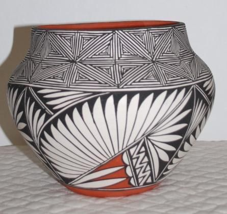 Black and White Feather Raku Canteen Ceramic Vase
