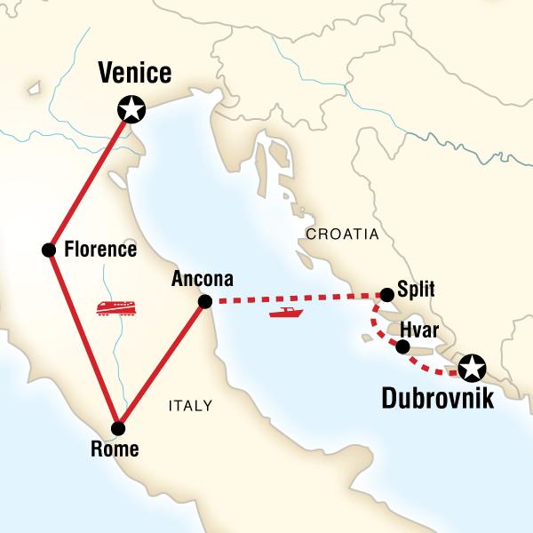 Map Of The Route For Italy To Croatia Highlights Croatia Itinerary Italy Vacation Itinerary Croatia Honeymoon