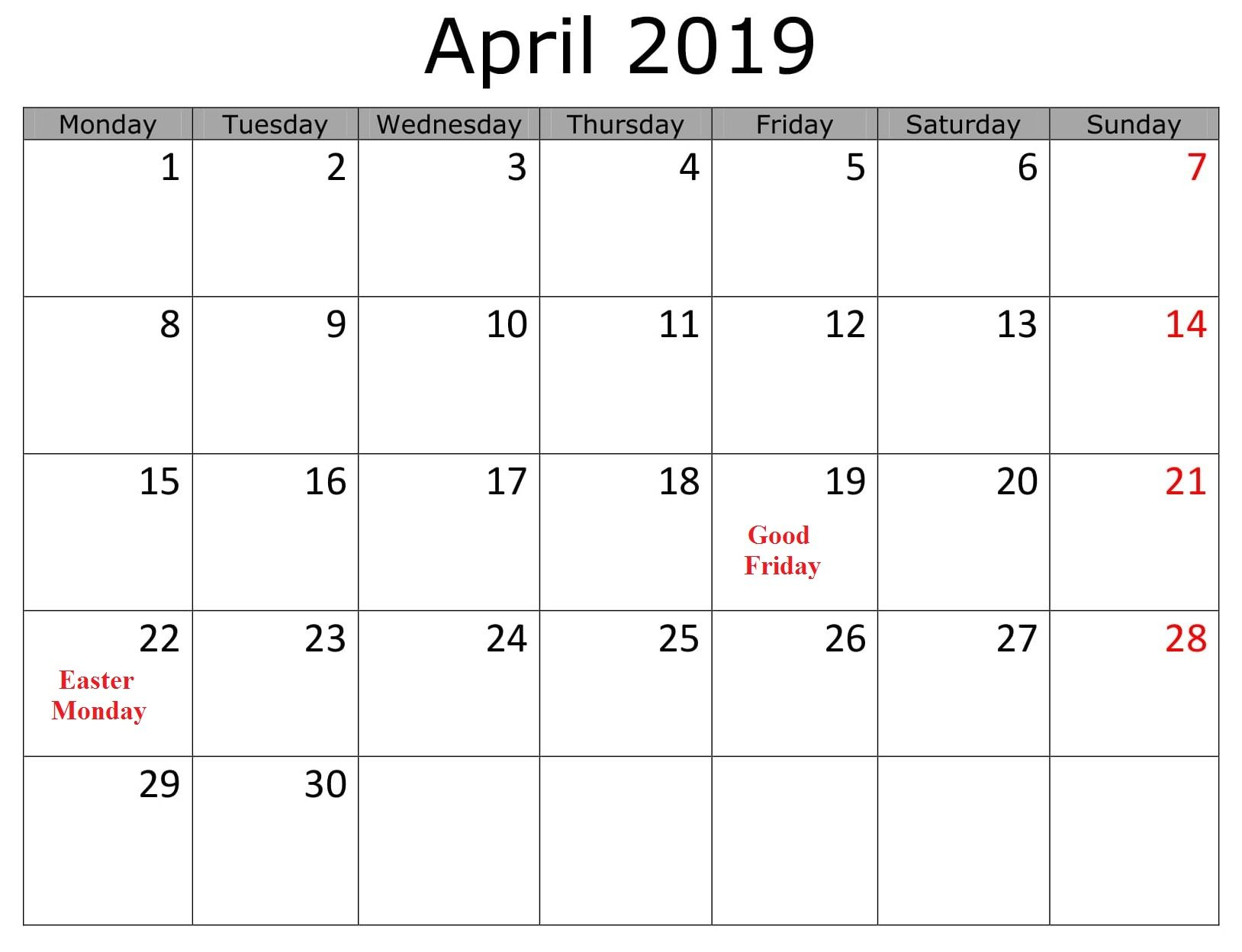 Business April 2019 Calendar With Holidays Vicky