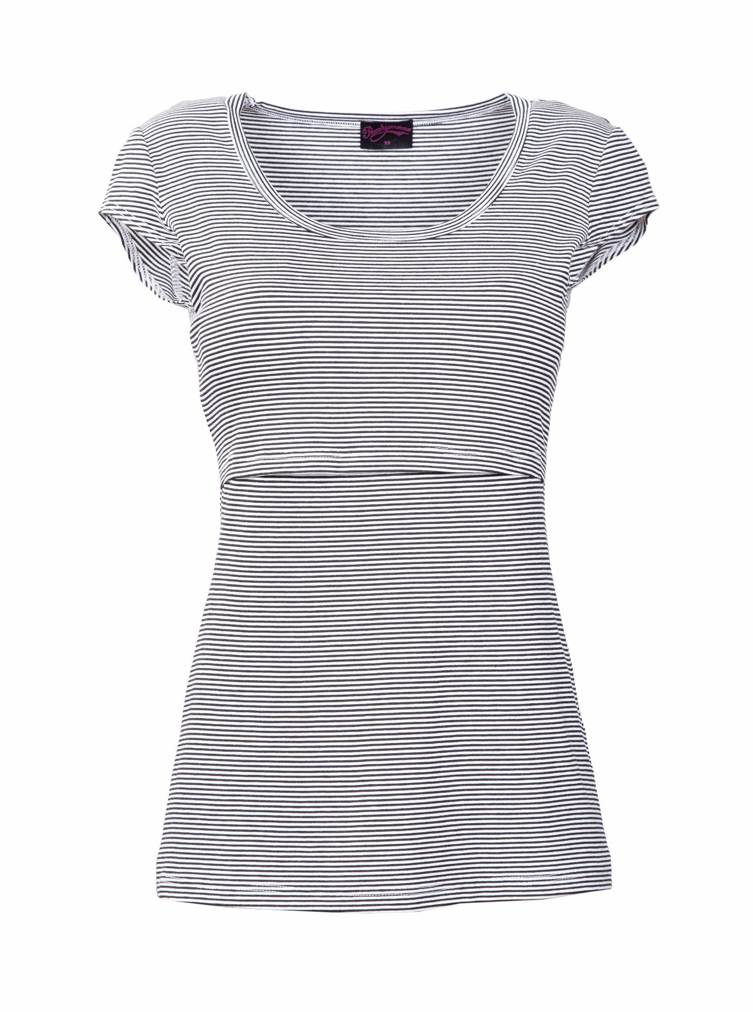 bf3d768e8bc Shapely Chic Short sleeve nursing top with thin black and white stripes.  Stay cool in the warmer seasons wearing this top with jeans