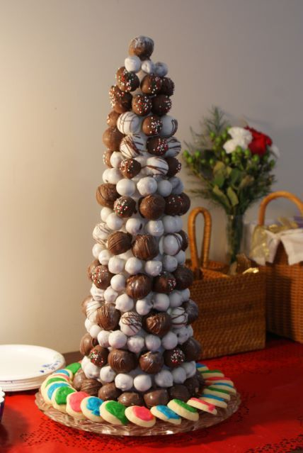 Christmas Tree Made Out Of Styrofoam Toothpicks And Then Any Type Candy Or Cake Balls In This I Used Peanut Butter Chocolate Covered Grapes