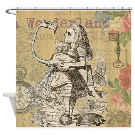Alice In Wonderland Flamingo Shower Curtain By Doodlefly Alice