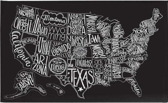 Chalkboard Map Of Us BasicGrey : Shop | Map canvas art, Eclectic artwork, Map wall art