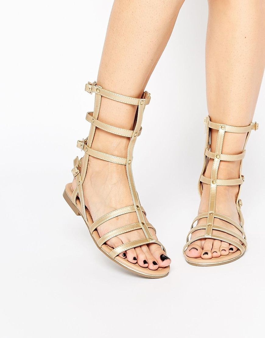 fea2c7f4f51920 Call It Spring Midmay Gold Calf Gladiator Flat Sandals