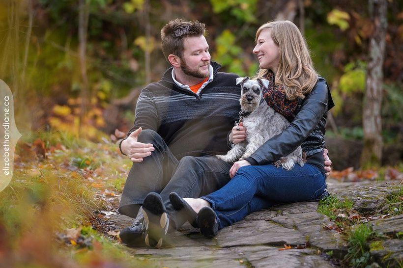 Alayna and Ben had their engagement session at the Champlain Lookout near Ottawa with their dog and photographed by Liz Bradley of elizabeth&jane photography.