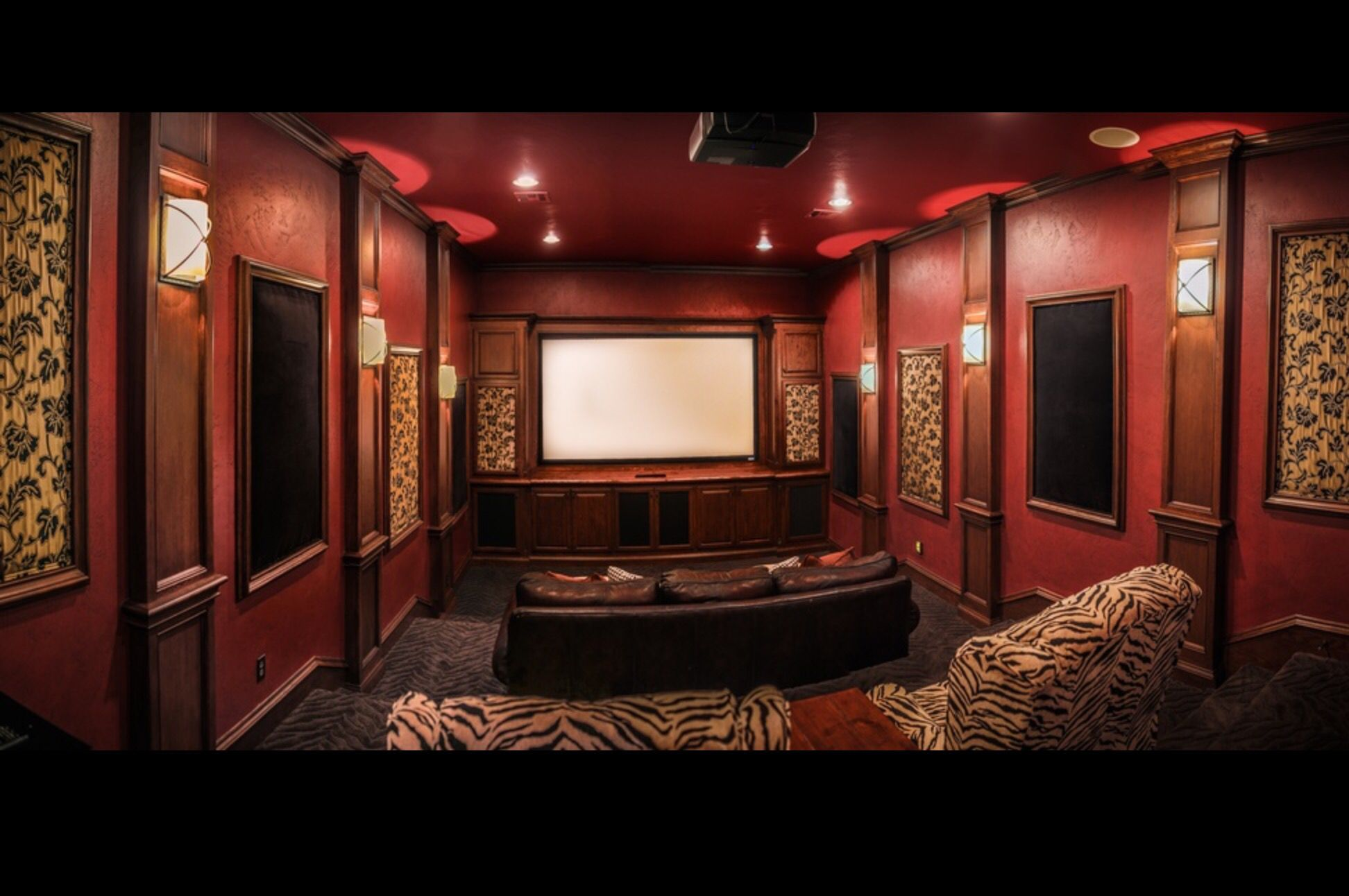 Fancy home theater room with animal print and dark crimson red ... on fancy pool table, fancy wine cellar, fancy home tours, fancy cd player, fancy home cinema, fancy bar, fancy home photography, fancy bathroom, fancy home gym, fancy computers,