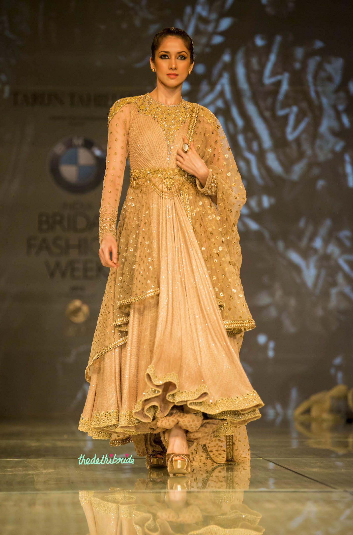 gold layered anarkali 1 Tarun Tahiliani India Bridal Fashion Week 2014