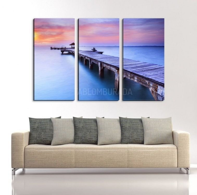 Large wall art canvas wooden sea pier at sunset ready to hang canvas print wall