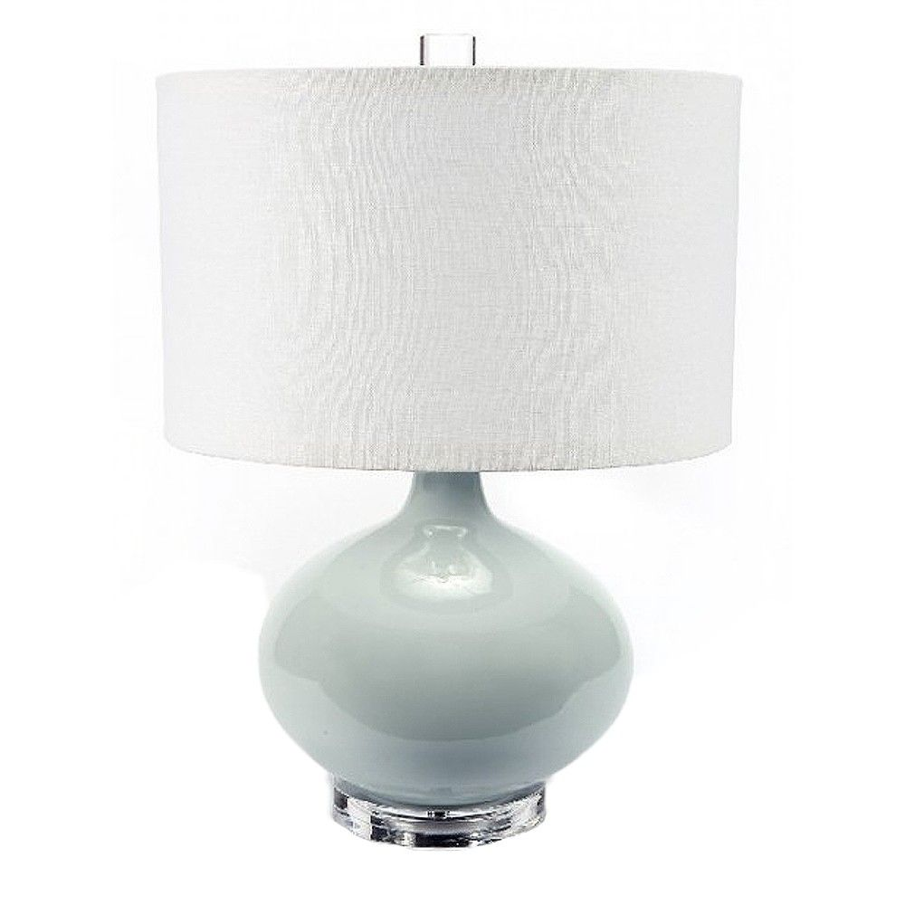 Oyster Linen Shade With Spa Ceramic Body And Acrylic Base Lamp