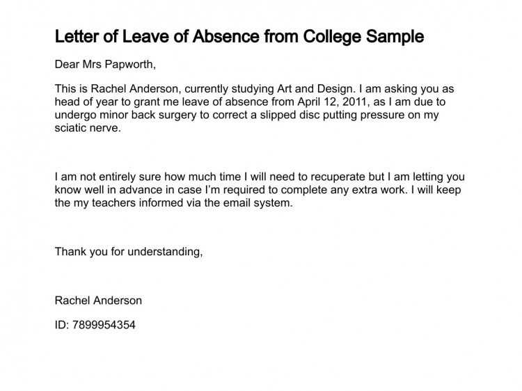 LetterOfLeaveOfAbsence    Leave Of Absence Letter  Legal