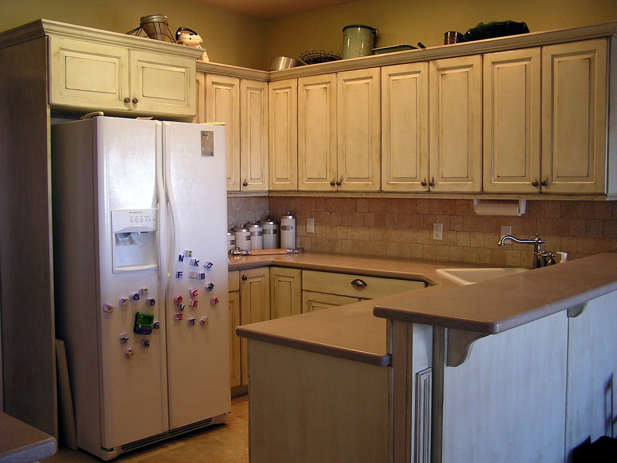 Distressed White Kitchen Cabinets  Old World Style