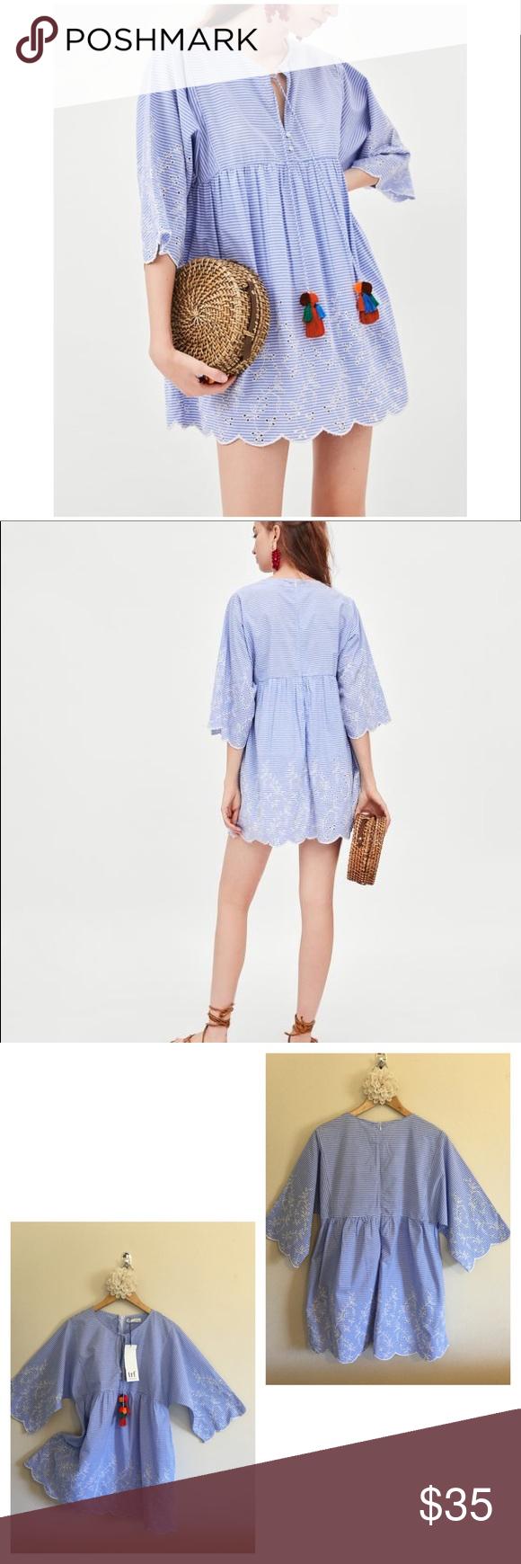 9bf67c58 Zara TRF Pinstripe Dress Pom Poms Embroidered NWT Beautiful and trendy Zara  Shift dress with blue