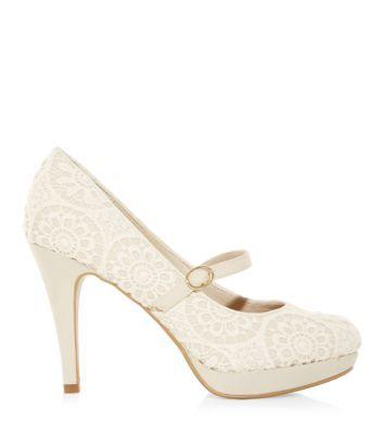 Wide Fit Cream Crochet Strap Platform Court Shoes - bridesmaid's shoes
