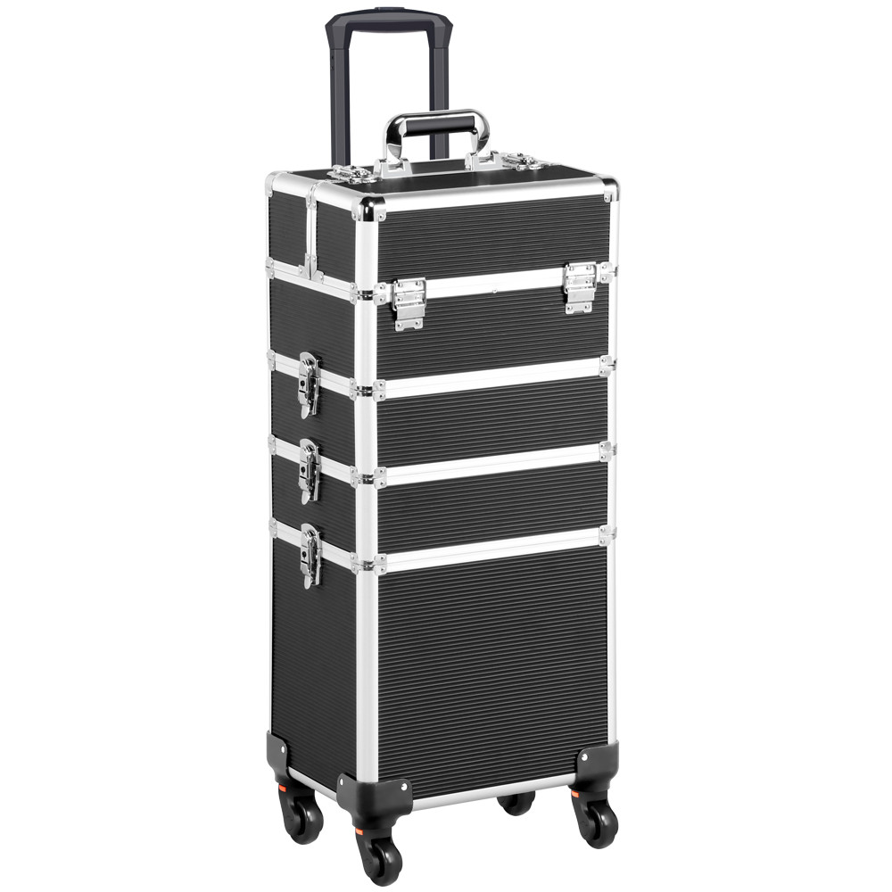 SmileMart Rolling Aluminum Makeup Train Trolley Case