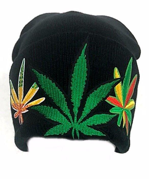 3 Leaf Marijuana Beanie Cuff Rasta Green Weed Winter Stretchable Ski Cap Hat   Clover  Beanie d44e189c532e