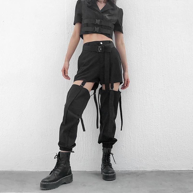 Buckle Hollow Out Black Cargo Pants