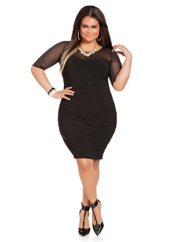 Ashley Stewart Web Exclusive Ruched Waist Mesh Sweetheart Dress