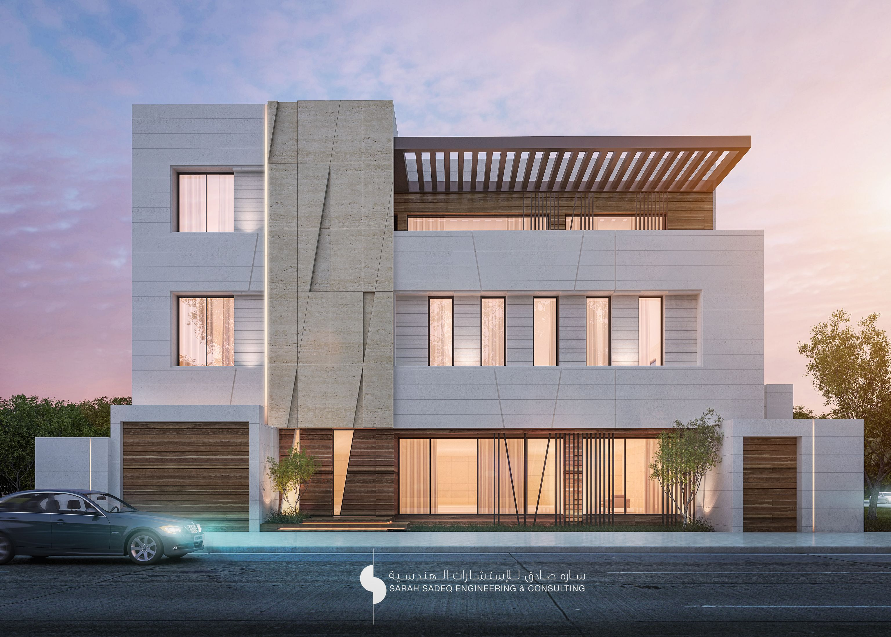 Luxury saudi arabian villa 3d front elevation house gallery for front - Private Villa 750 M Kuwait House Elevationfront