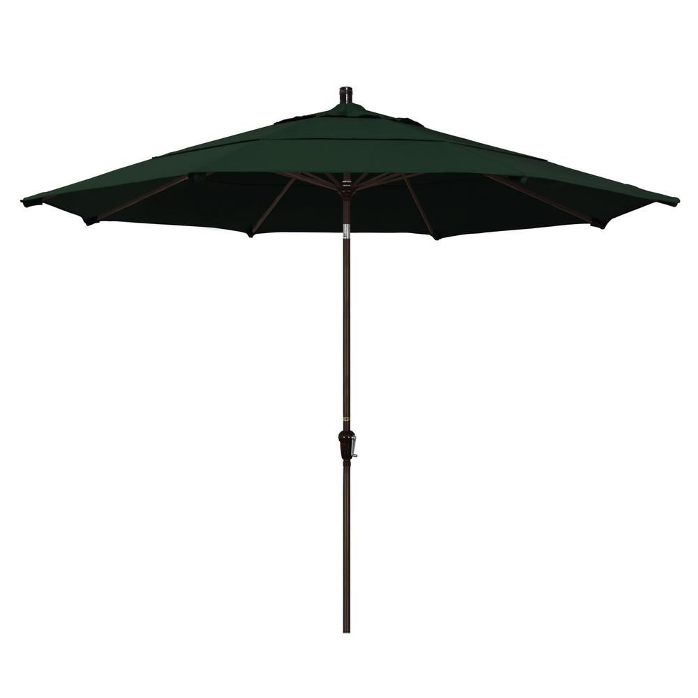 California Umbrella 11 Ft Bronze Aluminum Market Auto Tilt Patio Umbrella In Hunter Green Pacifica Market Umbrella Sunbrella Umbrella Patio