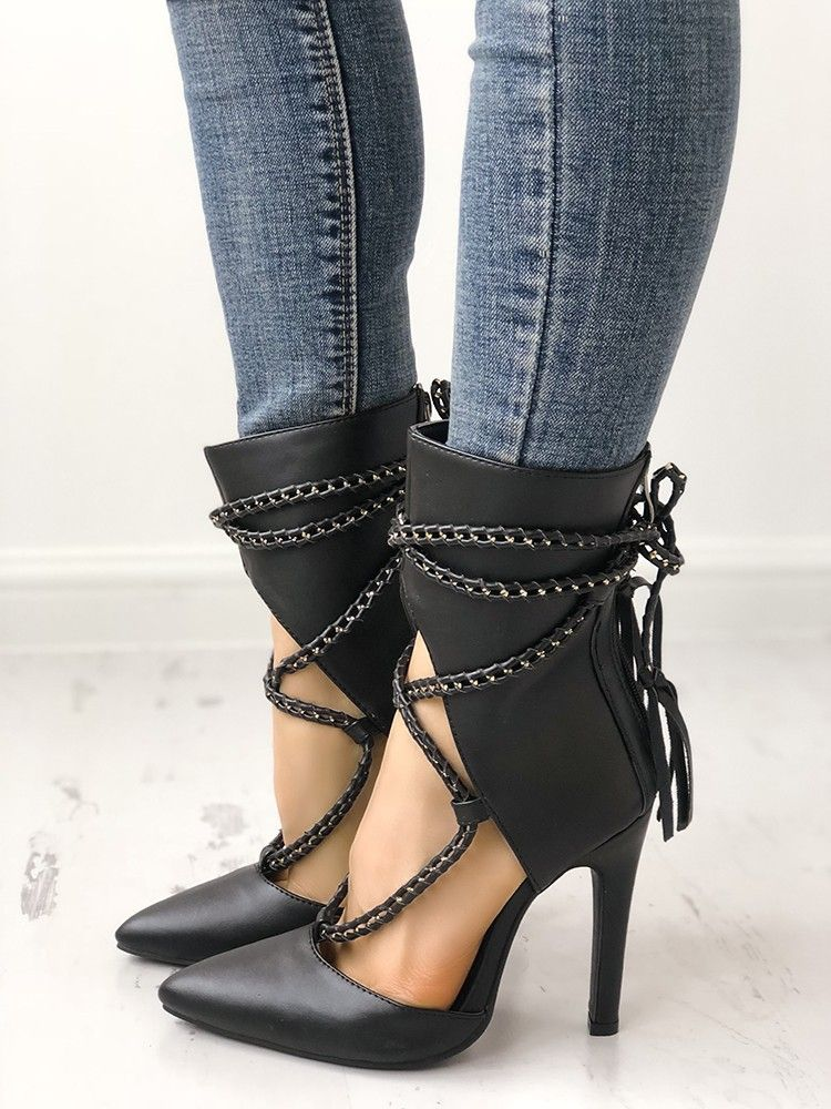 Pointed Toe High Heel Booties