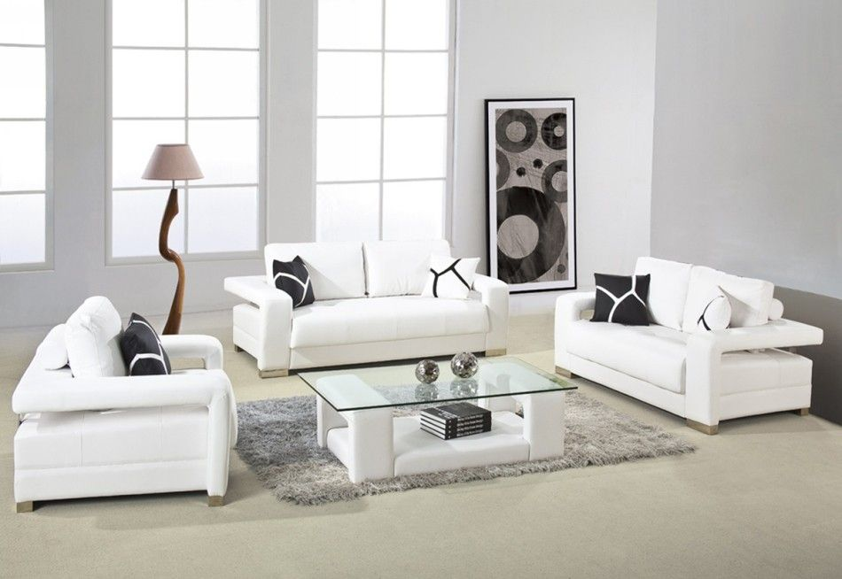 D2926 Modern White Bonded Leather Sofa Set Modern White Living Room Leather Living Room Furniture Leather Living Room Set