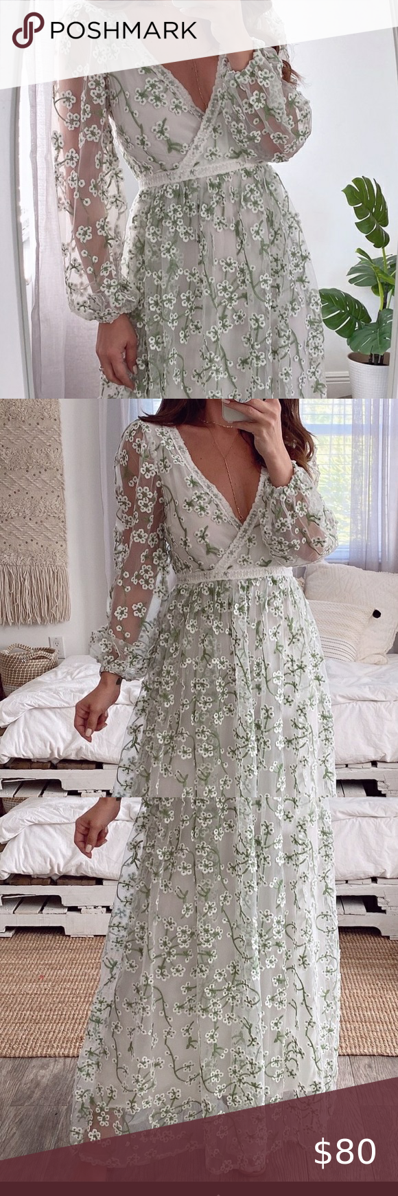 White Embroidered Maxi Dress Bridal Engagement Embroidered Maxi Dress White Flowy Maxi Dress Engagement Party Dresses [ 1740 x 580 Pixel ]