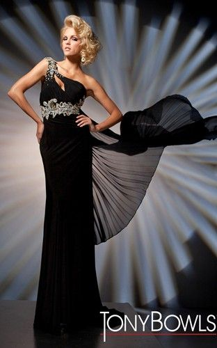 One-shoulder jersey slim A-line gown with asymmetric neckline and keyhole bodice, by Tony Bowls Evenings