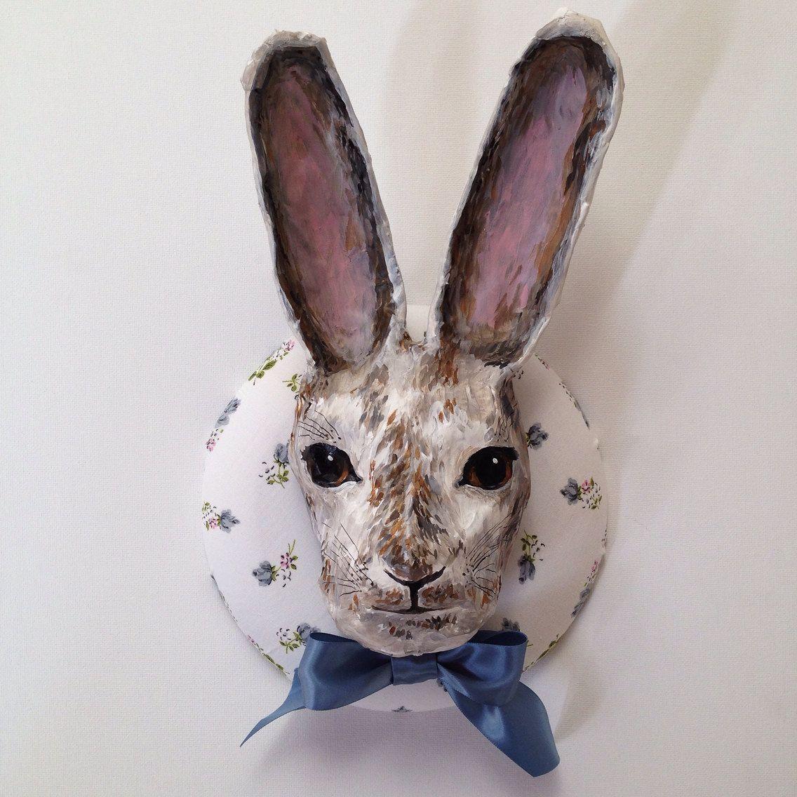 Paper mâché rabbit bust by vintagecloudshop on Etsy, $98.00