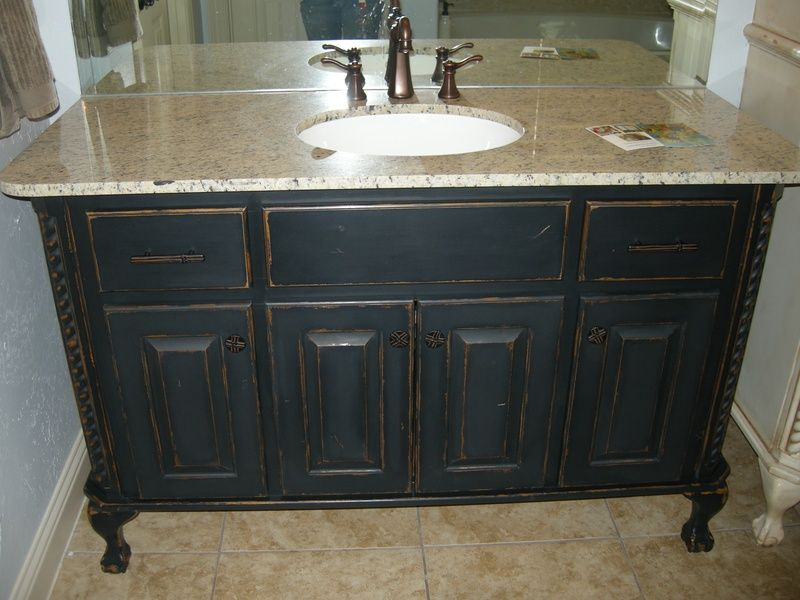bathroom vanity after maison blanche chalk paint - Painting Bathroom Cabinets Black