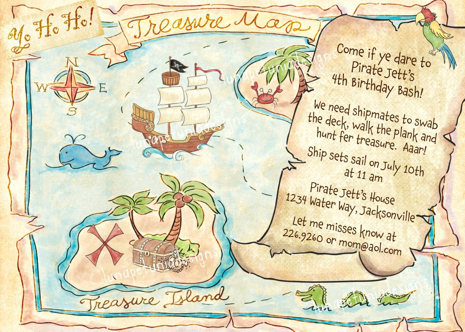 pirate treasure map invitation optional photo 14 00 via etsy