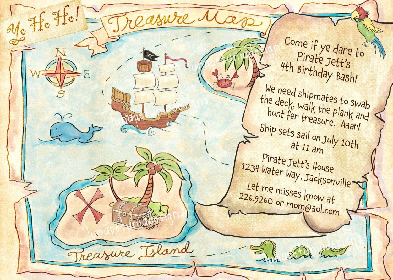Pirate Treasure Map Invitation | Pirate treasure maps, Pirate ...