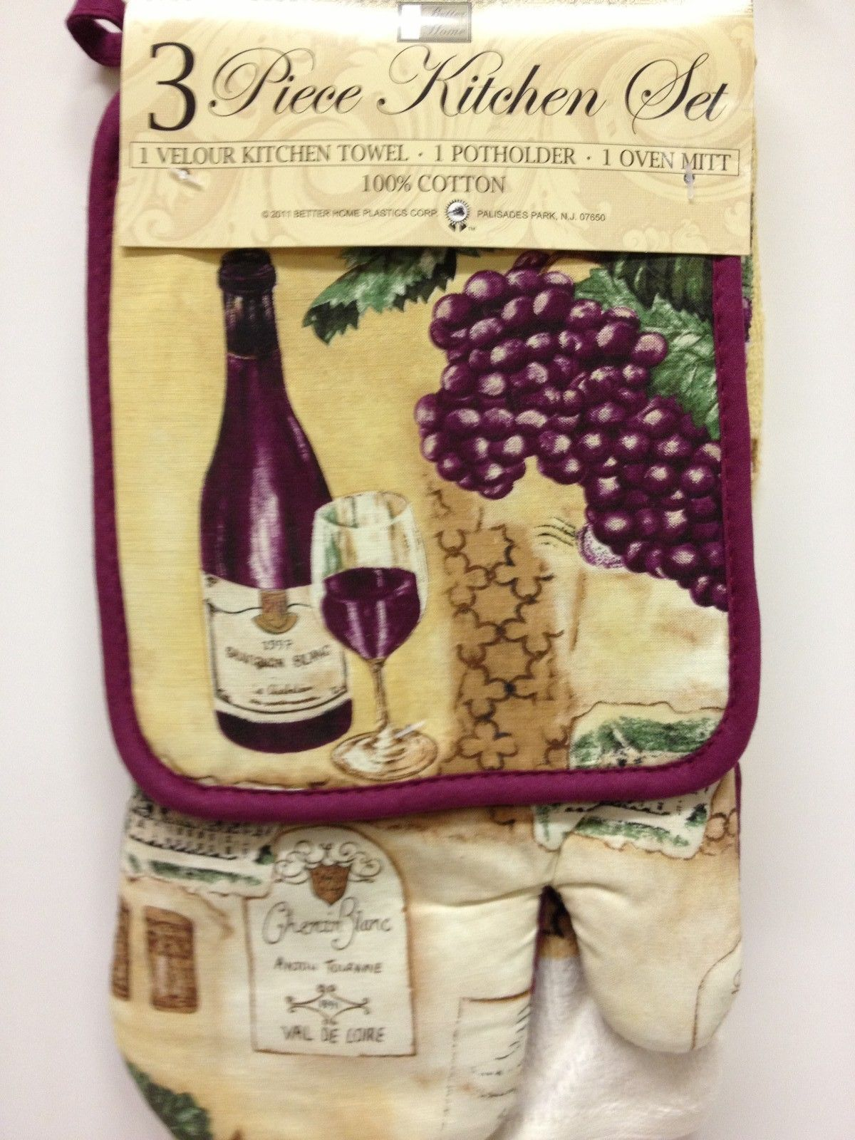 100% Cotton Kitchen Oven Mitt, Potholder, and Dish Towel Set - #Wine #Cooking #Baking #Kitchen #JessCrateOutlet
