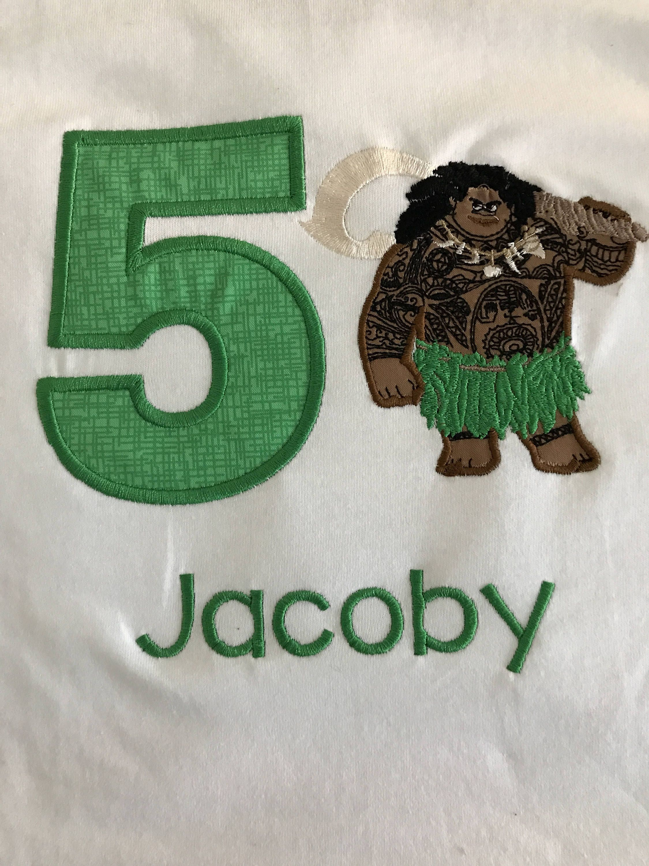 Maui moana embroidered birthday shirt by kidscustomdesigns