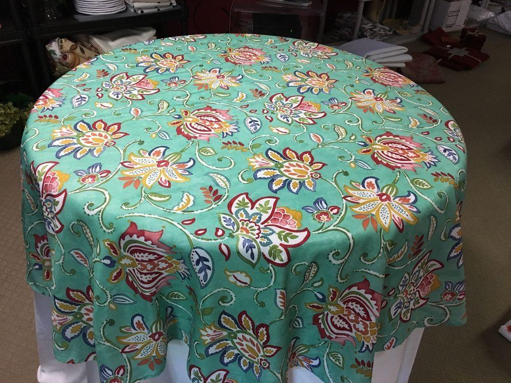 Fiesta Indoor/Outdoor Tablecloth Jacobean/Turquoise Geometric 70\