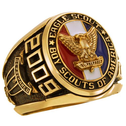 Personalize the golden siladium BSA Eagle Scout Award ring with your choice of engravings.  This ring is officially licensed by the Boy Scouts of America.