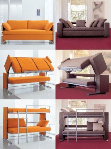 Sofa transforms to bunk bed, the next generation following the Murphy Bed. I would LOVE to have a couple of these in my house! What a great idea for guests!