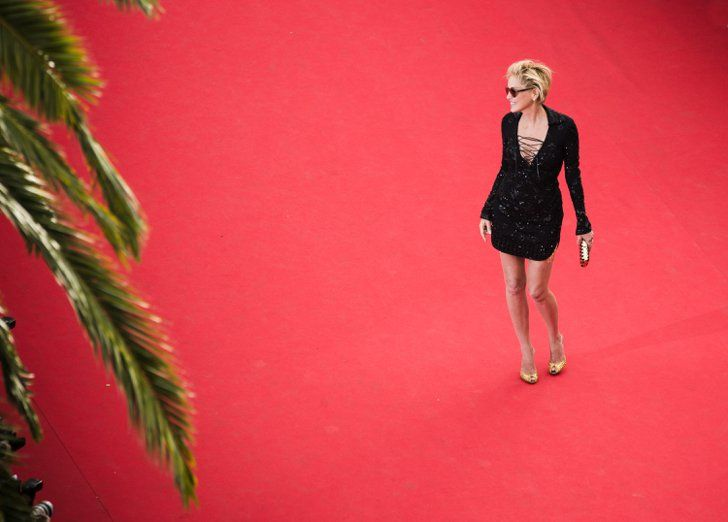 Pin For Later The Most Stunning Snaps From Cannes Sharon Stone Stood Out On The Vast Red Carpet