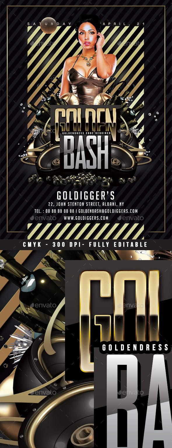 golden club bash clubs parties events event flyer