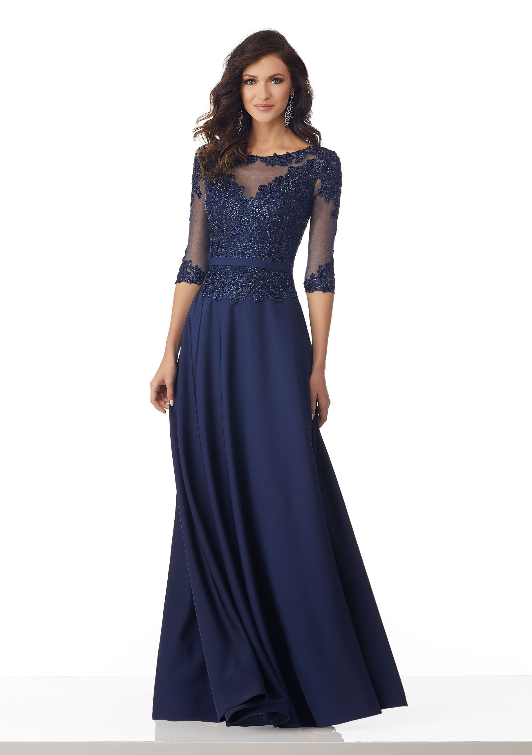 Stretch Crepe Social Occasion Gown with Beaded, Metallic