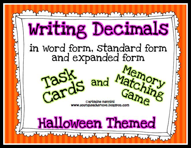 Writing Decimals Task Cards And Memory Matching Game Halloween