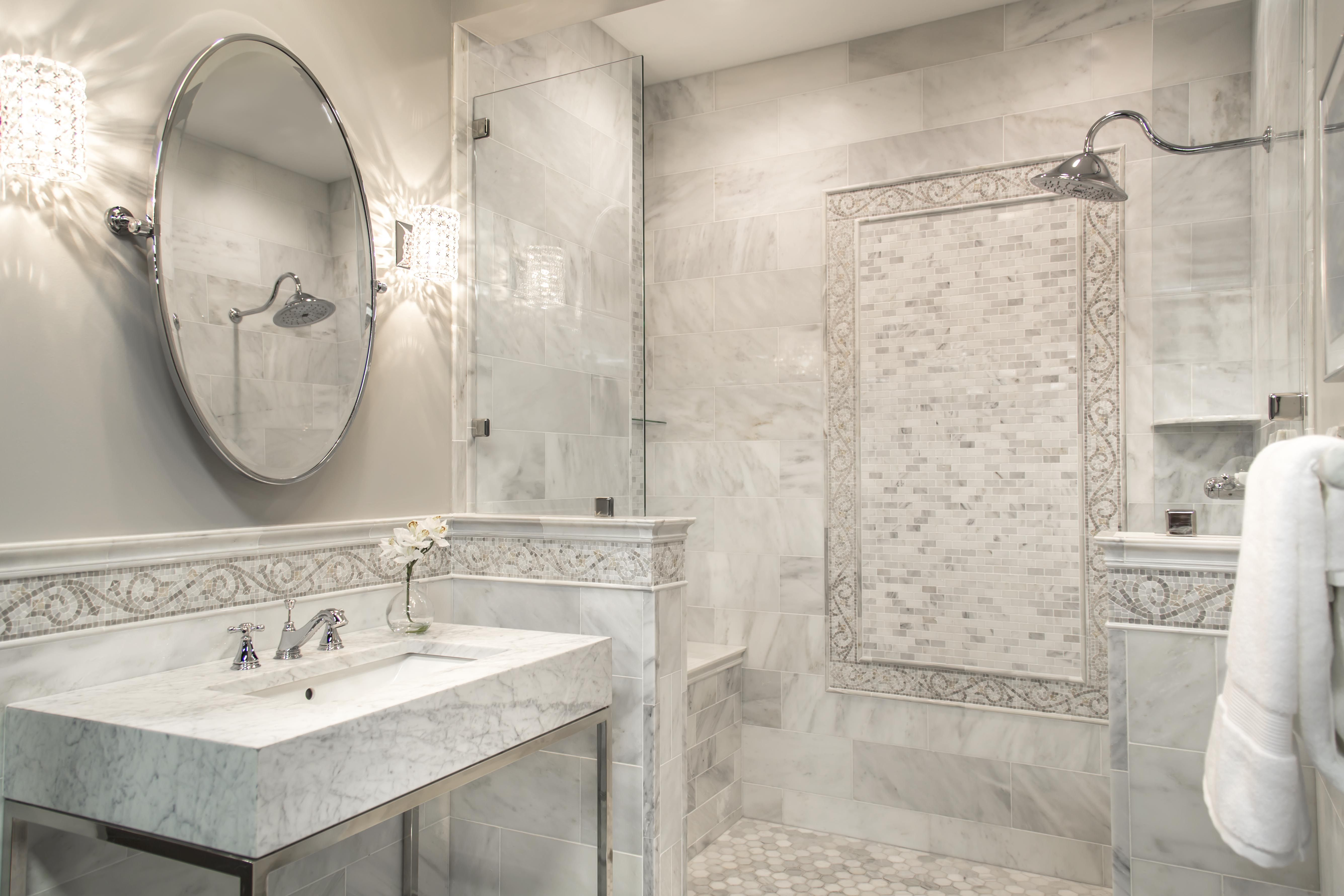 mosaic border tiles bathrooms our hampton carrara bathroom with mosaic border tile 19656