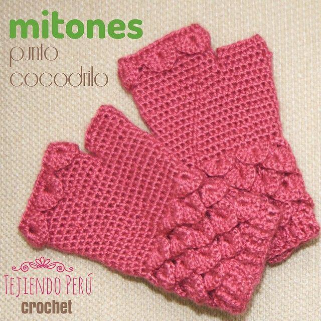 Mitones tejidos a crochet con detalles en el punto cocodrilo o ...