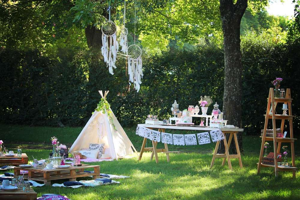 Boho chic birthday party ideas with images camping