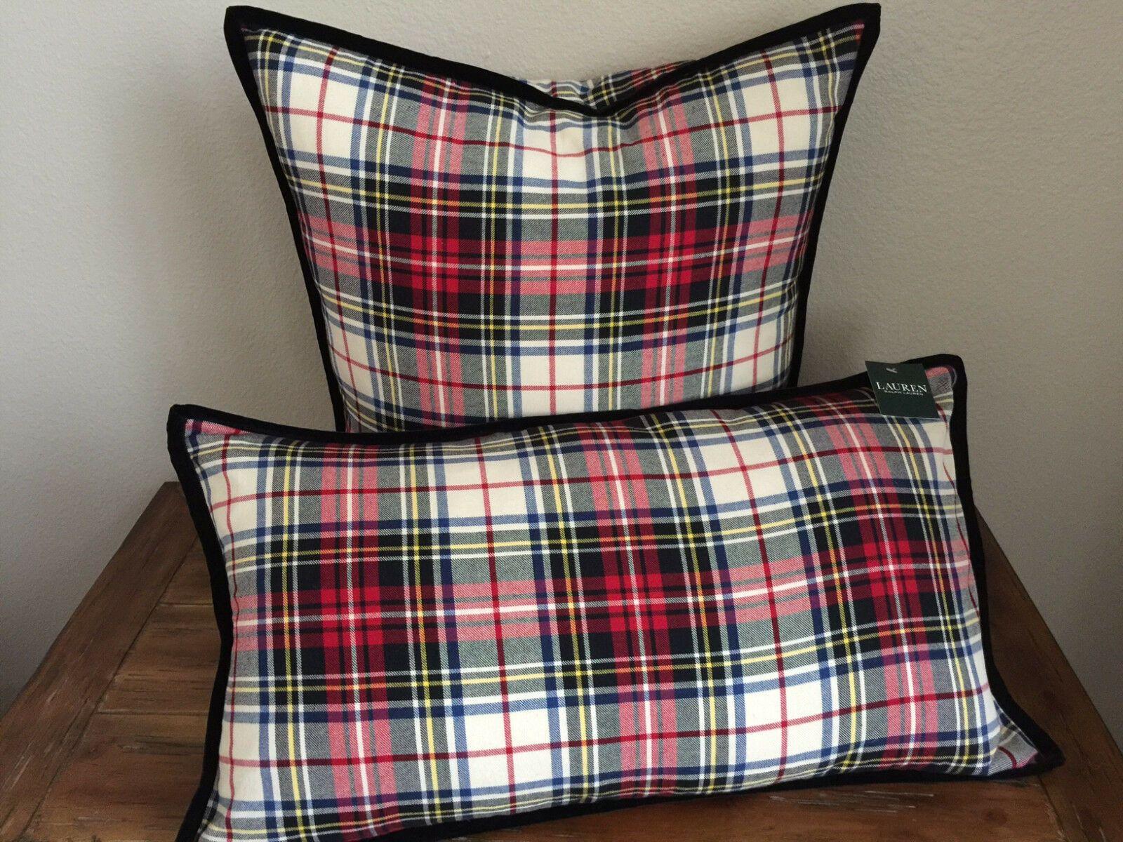 Decorative Bed Pillows 115630: Ralph Lauren Red Tartan Plaid Set