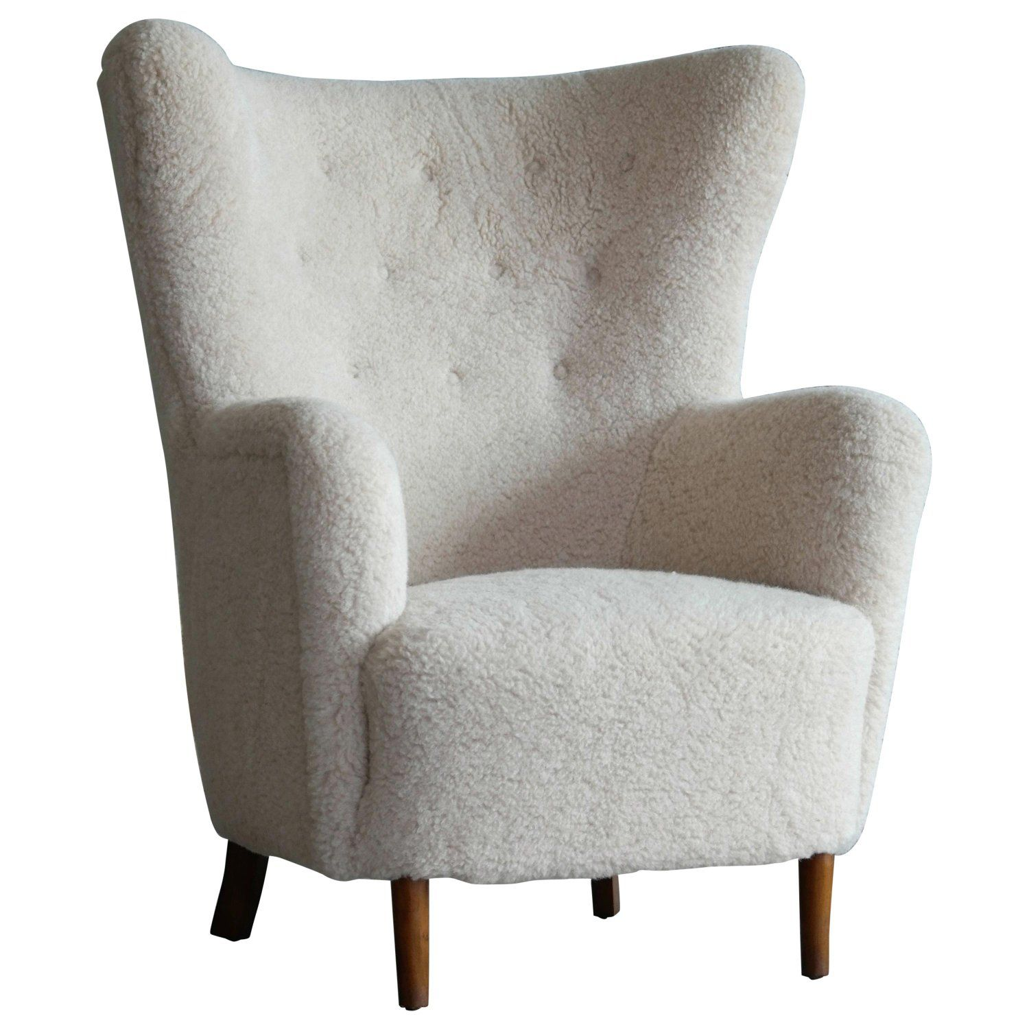 Danish 1940s high back lounge chair in beige lambswool in
