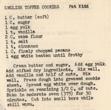 These classic cookbooks make perfect wedding gifts english toffee cookies recipe from a 1950s illinois church cookbook by allen salkin cookbooks forumfinder Image collections