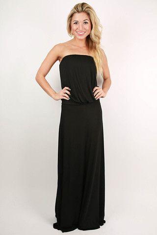 I'll Be Roadtripping Strapless Maxi Dress in Black