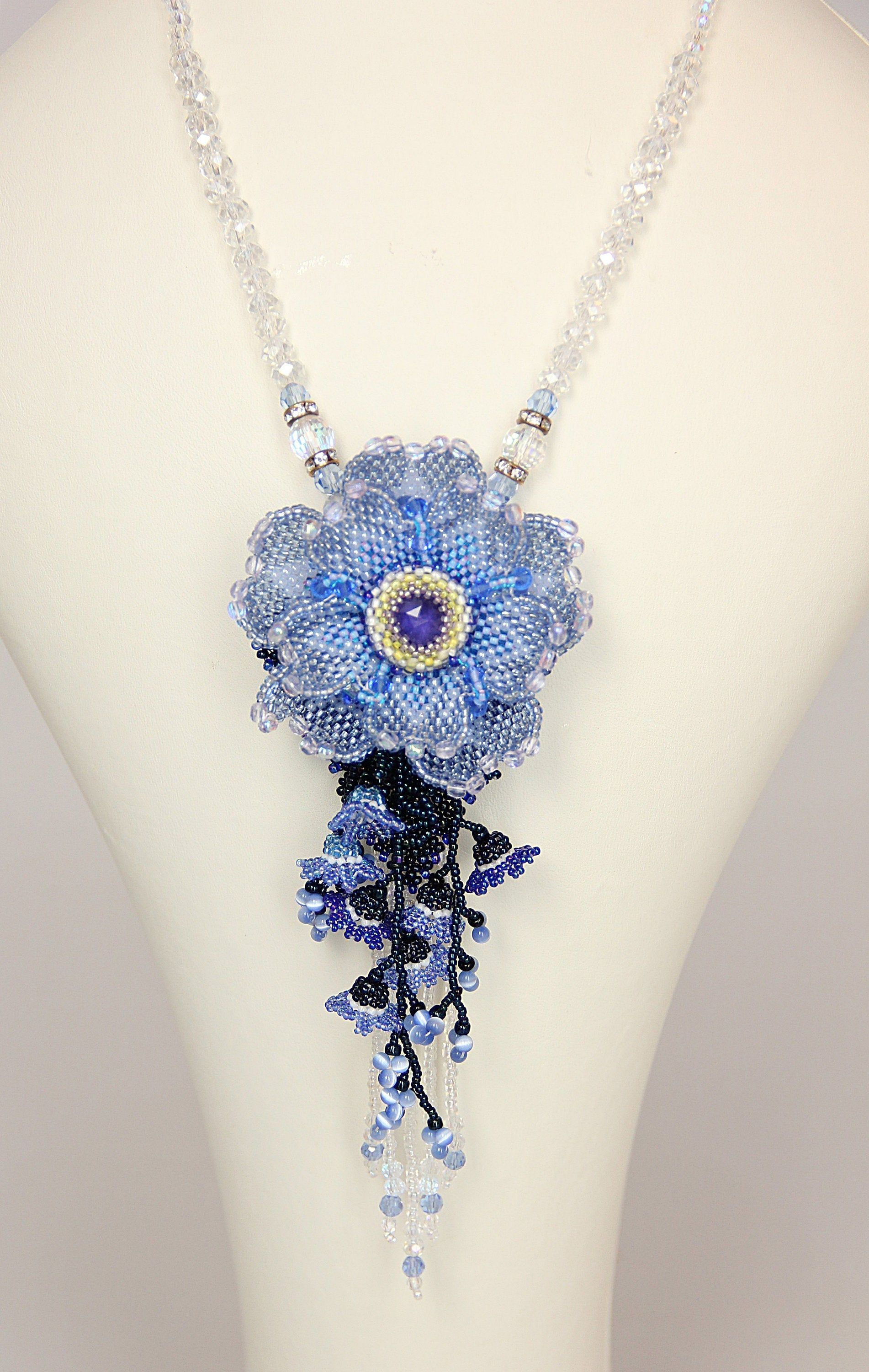 Blue Anemone Flower Bead Embroidered Necklace Bead Woven Etsy Beaded Jewelry Patterns Bead Weaving Jewelry Patterns